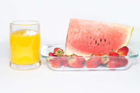 Fresh fruit pastries and fruit juice photo