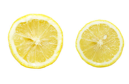 Close-up lemon cross-section isolated on white background photo