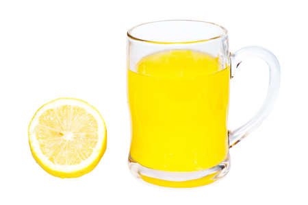 Lemon and lemon juice isolated on white background photo