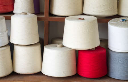 silk thread: The many white textile yarn.