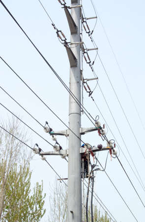 Work in the high-voltage poles photo