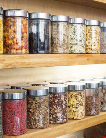 Traditional chinese medicine herbs and remedies in jars Stock Photo