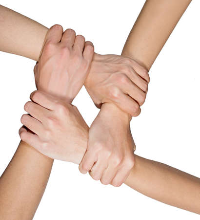 hands ring teamwork isolated on white background Stock Photo