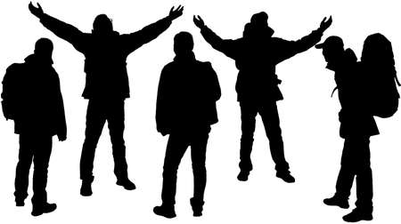 The silhouette of hikers isolated on a white background