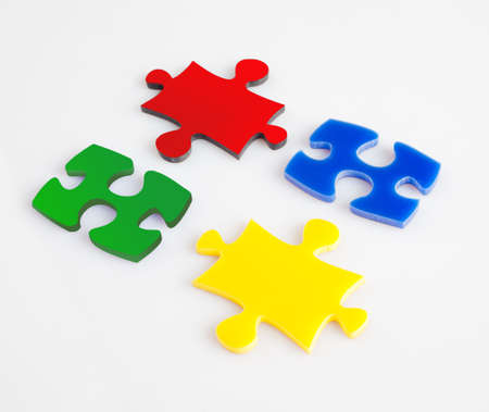 Four pieces of puzzle of color metaphor solution, business concept images photo