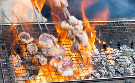 shishkabab: Preparation of meat slices in sauce on fire