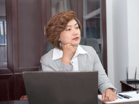mandible: Business woman hands in mandible, thinking of the way