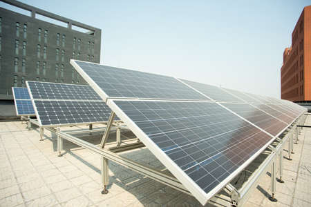 power industry: solar panel on the roof. Power Industry