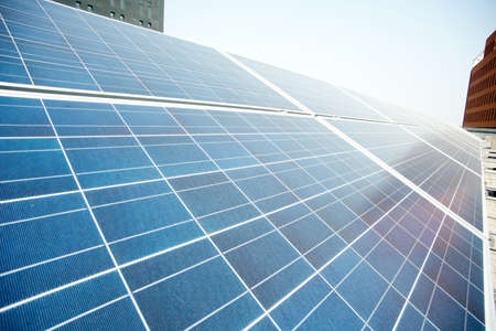 viewfinderchallenge3: Closeup of solar panels photovoltaic power plant Stock Photo