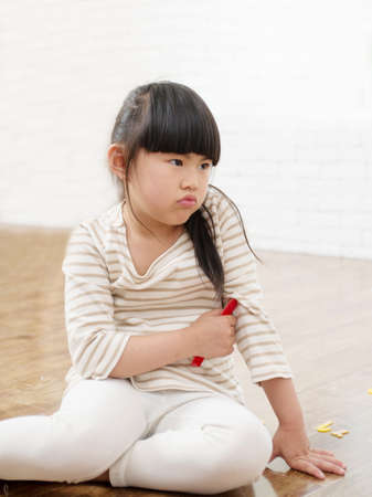 he said: The little girl pout. Said he was unhappy Stock Photo