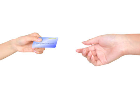 Features two hands exchanging a credit card photo