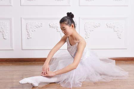 a rehearsal: Beautiful female ballet dancer at a rehearsal