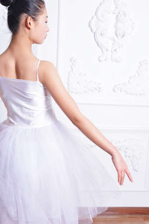 a rehearsal: Beautiful ballerina dress rehearsal, elegant back posture