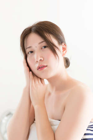 forearms: portrait of elegant woman, Beautiful young Asian girl. Stock Photo