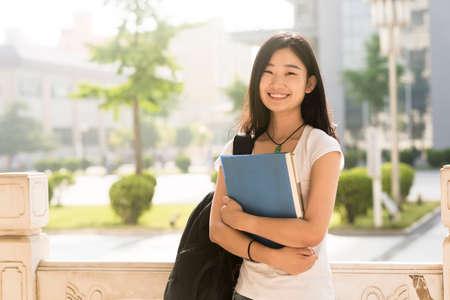 Portrait of a Asian college student at campus Foto de archivo
