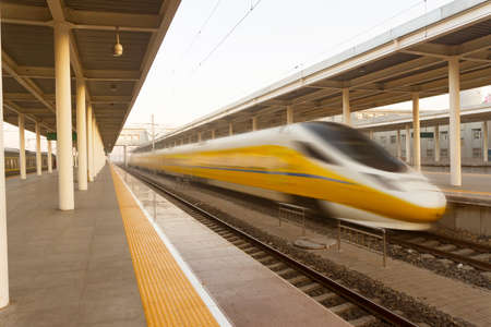 High speed trains running on the track.