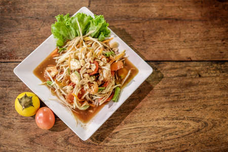 Somtum, papaya salad wih shrimp, spicy Thai food dish Stock Photo