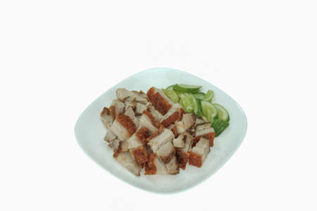 chinese food: Dish of crispy pork isolated on white background Stock Photo