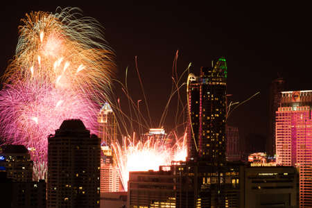 count down: Bangkok, Thailand - Jan 1, 2016: Central World, the biggest shopping mall in Bangkok, held a New Year count down event and shot fireworks at 00.00 AM on Jan 1, 2016 Editorial