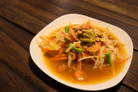 somtum: Somtum, papaya salad with shrimp, spicy Thai food dish Stock Photo