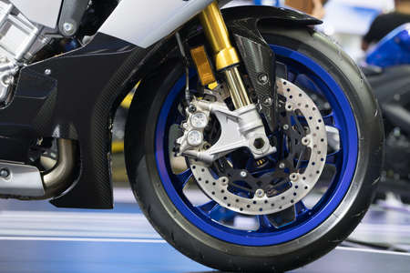 Disc brake of modern motorcycles front wheel Stock Photo