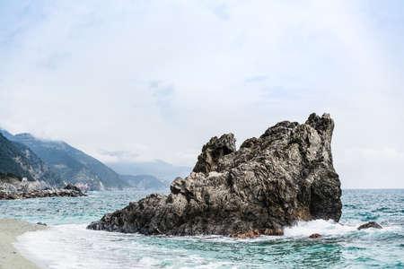 Huge rock at Monterosso beach, Cinque Terre, Liguria, Italy