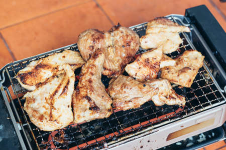 pork tenderloin: Charred grilling pork tenderloin on electric grill