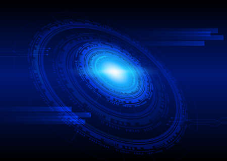 Technology abstract background in blue, hi-tech sci-fi cyberspace theme concept