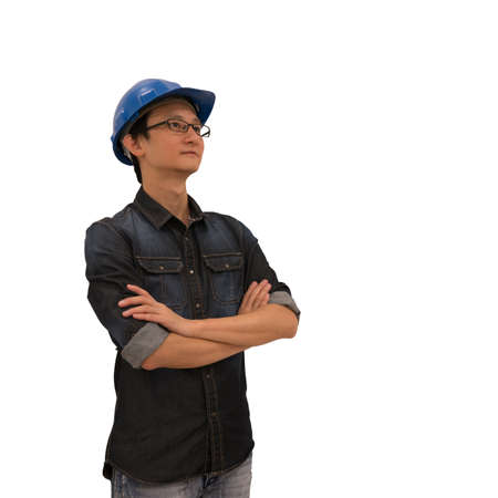 asian architect: Asian architect or engineer looking upward, with clipping path, isolated on white background, industry or architect or engineering concept, young and handsome character look at copy space
