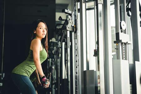 ジムで運動するセクシーな若いアジアの女の子、プッシュダウンケーブルマシンのトレーニング、コピースペース付き。健康的なライフスタイル、 写真素材