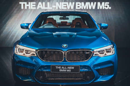 Bangkok, Thailand - Apr 4, 2018: New BMW M5 display on stage at the 39th Bangkok International Motor Show 2018 at BMW booth event in Impact Challenger Hall