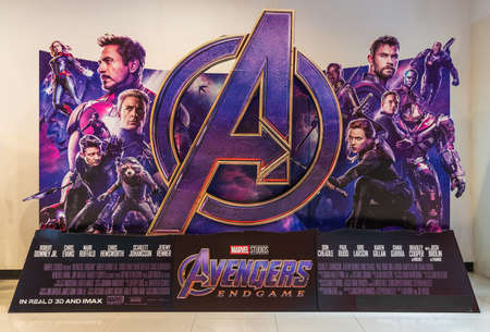 Bangkok, Thailand - Apr 18, 2019: Avenger Endgame movie backdrop display in movie theatre. Cinema promotional advertisement, or film industry marketing concept Sajtókép