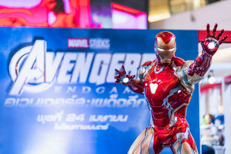 Bangkok, Thailand - Apr 25, 2019: Life-sized Iron Man model show in Avengers Endgame exhibition booth. Movie promotional advertisement event, or film industry marketing concept Redakční