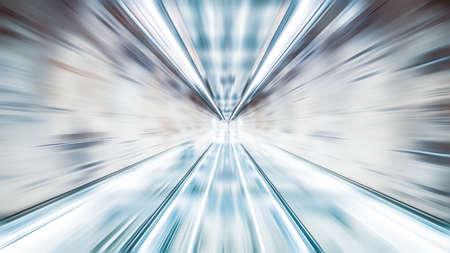 Fond d'écran abstrait de zoom flou, point de fuite diminuant la perspective. Technologie de l'information, connexion Internet ou concept d'entreprise financière