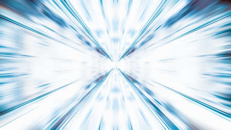 Blur zoom abstract background in blue and white, vanishing point diminishing perspective. Information technology, tech wallpaper, internet connection, or financial business concept Banco de Imagens