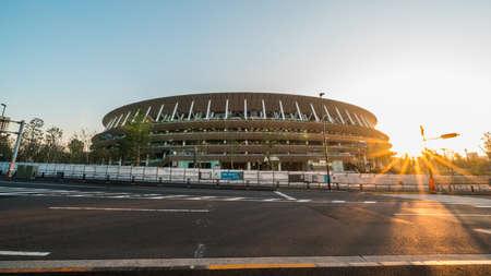 Tokyo, Japan - Nov 1, 2019: Olympic Stadium, Japan New National Stadium host venue in Shinjuku Tokyo, at sunset. International multi-sport event, Japanese landmark concept