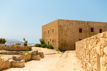Greece Crete Rethymnon Fortezza ruins of an old house in the grounds. historical building italy