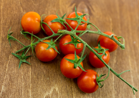 Small tomatoes on a branch against a dark brown board