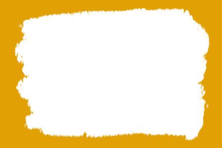 抽象的な背景フレーム オレンジ黄土色の広範なブラシ ストリップ ペイント白ガッシュ真ん中ギザギザ ストローク 写真素材 - 81234676