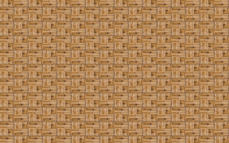 Wooden background ornament parquet intertwined squares cell slats assembled into a volumetric pattern Stock Photo