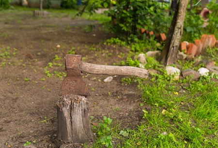 ax log, background rustic, old wood chopping tool