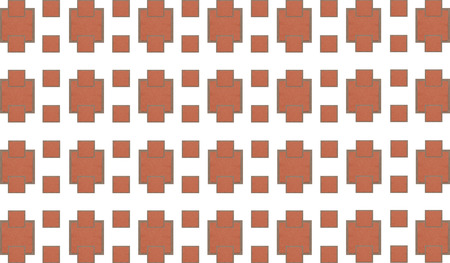brick abstract background. Pattern of stone mosaic trapezium infinite repetition with a row of squares
