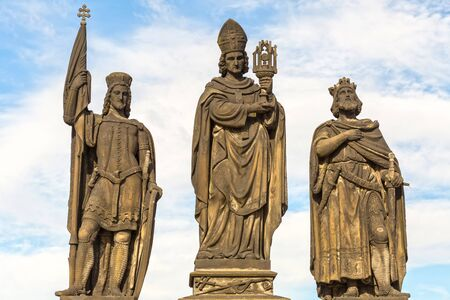 Sculptures  Charles Bridge. Statues of three figures - Saint Norbert, St. Vaclav and St. Sigismund. Prague Czech Republic February 2017 year 에디토리얼