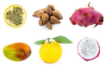 set of exotic fruits manga dragon fruit tangerine with green leaves ptokhaya and half of yellow passion fruit