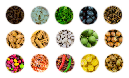 assortment of icons group of nuts almond cashew appetizer for beer meat sausages pickled onion and dessert