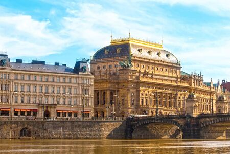 National Theater Prague famous historical stately building in the city view through vlatlava river. Prague Czech Republic March 2017