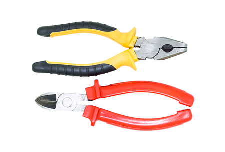 two hand tools pliers pliers with rubber handles hand tools repair on white background