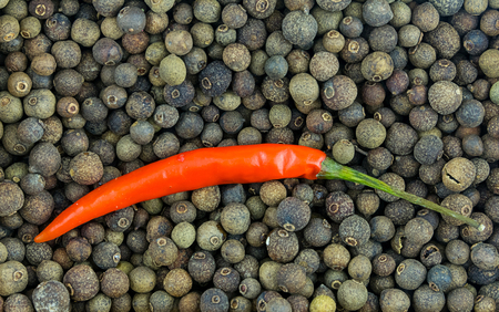 red pepper hot chili long pod on background many pimento base of spicy sauces