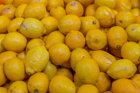 bright yellow fruit lemon background set set of fruits ingredient base of lemonade cocktail and dessert tresses freshness sourish dishes Stock Photo