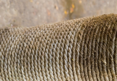 texture rustic rope gray fiber wicker vertical row jute weathered grunge background close-up Stock Photo